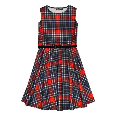A2Z Trendz Girls Skater Dress Kids Red & Black Tartan Print Summer Party Dresses New Age 7 8 9 10 11 12 13 Years