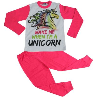 A2Z Trendz Kids Girls Pajamas Designer's Wake Me When I'M A Unicorn Print Contrast Sleeves Stylish Pink Pyjamas Loungewear Nightwear PJS New Age 5 6 7 8 9 10 11 12 13 Years