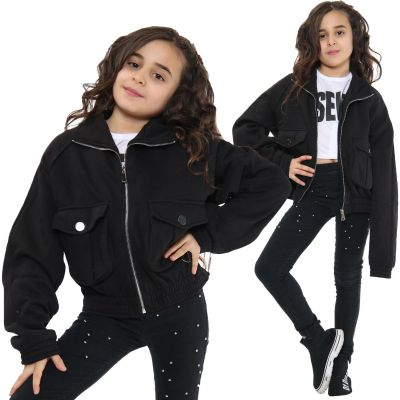 Kids Girls Plain Zip Up Cropped Jackets Black Fleece Stylish Utility Pockets Jackets Fashion Thick Coats.