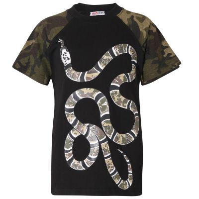 A2Z Trendz Boys T Shirts Kids Designer's 100% Cotton Charcoal Snake Print Camouflage Contrast Panel T-Shirts Soft Feel Tee Ringspun New Age 5 6 7 8 9 10 11 12 13 Years