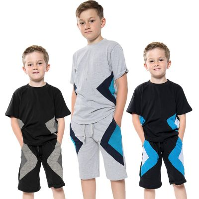 A2Z Trendz Kids Girls Boys Shorts Set 100% Cotton Contrast Panelled Trendy Fashion Summer T Shirt Top & Short Pants Gymwear Outfit Clothing Sets New Age 5 6 7 8 9 10 11 12 13 Years