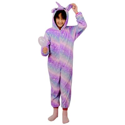 A2Z Trendz Kids Girls Unicorn A2Z Onesie One Piece Extra Soft Fluffy 3D Lilac Galaxy All In One Xmas Halloween Easter Cosplay Costume Lounge Wear Suits New Age 2 3 4 5 6 7 8 9 10 11 12 13 Years