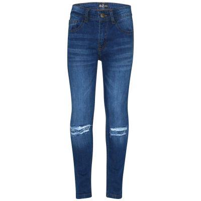 A2Z Trendz Kids Boys Skinny Jeans Designer Light Blue Denim Knee Ripped Fashion Bikers Pants Stylish Faded Bottom Slim Fit Adjustable Waist Trousers New Age 5 6 7 8 9 10 11 12 13 Years