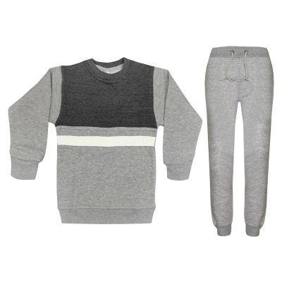 A2Z Trendz Kids Girls Boys Tracksuit Designer's Contrast Panelled Fleece Top & Bottom Grey Workout Running Jogging Suit Sportswear Gymwear Jogger Age 3 4 5 6 7 8 9 10 11 12 13 Years