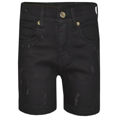 A2Z 4 Kdis Kids Boys Shorts Designer's Jet Black Denim Ripped Chino Bermuda Jeans Shorts Casual Knee Length Half Pant New Age 5 6 7 8 9 10 11 12 13 Years