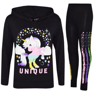 A2Z Trendz Kids Girls Tracksuit Designer's Dabbing Unicorn Rainbow Unique Floss Hooded Black Top & Legging Lounge Wear Set New Age 7 8 9 10 11 12 13 Years