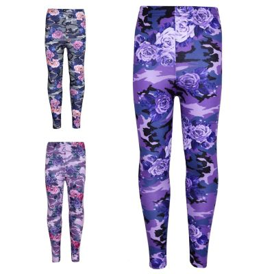 Girls Legging Kids Camo Floral Print Party Dance Fashion Pants New Age 7 8 9 10 11 12 13 Years