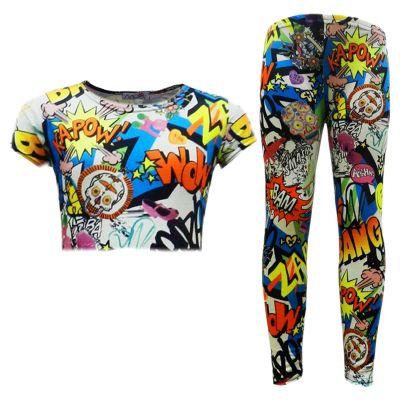 A2Z Trendz Girls Top Kids Designer's Comic Graffiti & Bang Print Trendy Crop Top & Fashion Legging Set Age 2 3 4 5 6 7 8 9 10 11 12 13