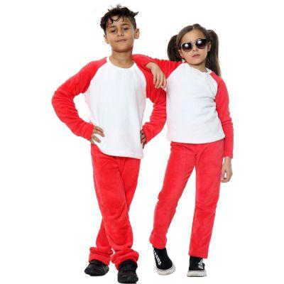 Kids Girls Boys Plain Pyjamas Red Loungewear Flannel Fleece Nightwear PJS.