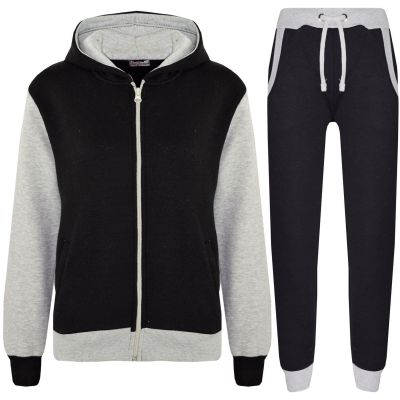A2Z Trendz Kids Tracksuit Girls Boys Designer's Plain Contrast Fleece Hooded Hoodie Bottom Jogging Suit Joggers Age 2 3 4 5 6 7 8 9 10 11 12 13 Years