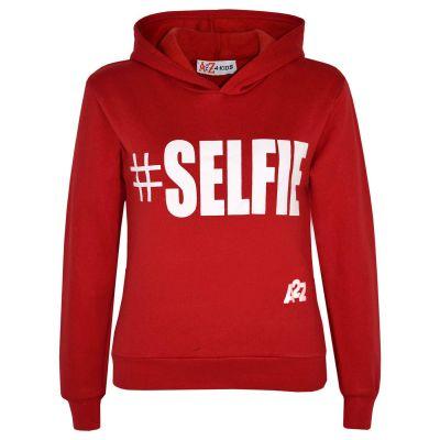 Kids Boys Sweat Shirts Tops Red #Selfie Hooded Jumpers Hoodies Age 5-13 Yr