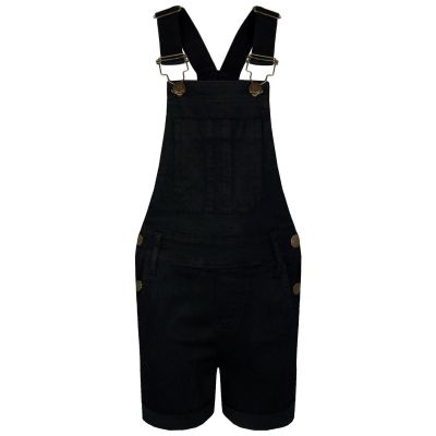 A2Z Trendz Kids Girls Dungaree Shorts Designer's Black Denim Stretch Jeans Jumpsuit Playsuit All In One Age 5 6 7 8 9 10 11 12 13 Years