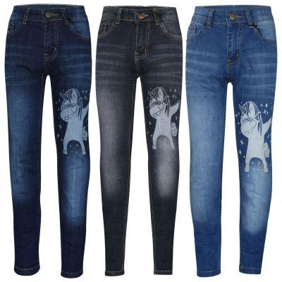 A2Z Trendz Kids Girls Jeans Designer's Unicorn Dab Denim Stretchy Pants Fashion Slim Fit Trousers New Age 5 6 7 8 9 10 11 12 13 14 Years