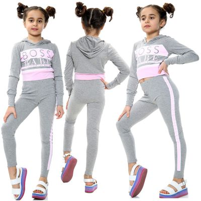 Kids Girls Boss Babe Printed Grey Hooded Crop Top Fashion Legging Outfit Sets