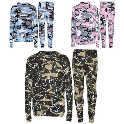 A2Z Trendz Kids Jogging Suit Girls Camouflage Splash Print Lounge Suit Tracksuit Top Bottom Joggers Leggings Set Age 7 8 9 10 11 12 13 Years