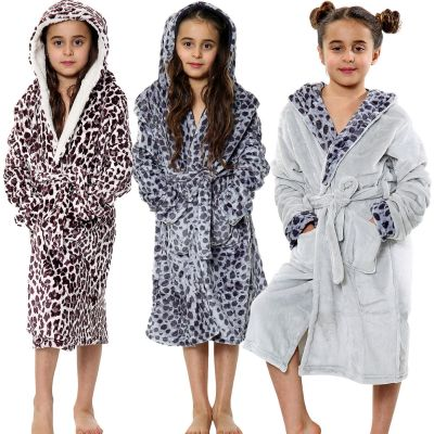 Kids Girls Bathrobes Leopard Print Flannel Fleece Hooded Soft Dressing Gown Nightwear Loungewears.