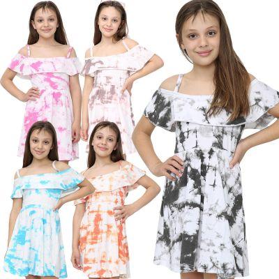 Girls Tie Dye Print Off Shoulder Dresses