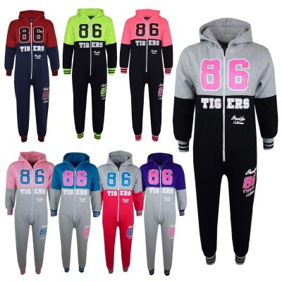 "Kids Girls Boys Onesie ""TIGERS 86 BROOKLYN CALIFORNIA"" Hooded All In One Jumpsuit PJ's Age 7-13 Years"