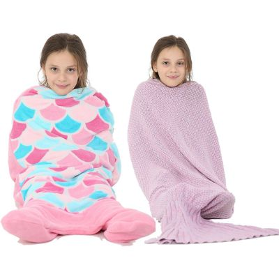 A2Z Trendz Kids Blanket Mermaid Tail Soft Fleece Blankets Sleeping Bag Fancy Dress One Size