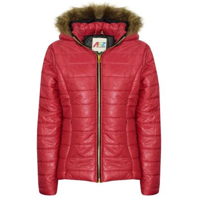 A2Z Trendz Kids Girls Jacket Wine Puffer Hooded Padded Quilted Faux Fur Detachable Hood Warm Thick Coats New Age 5 6 7 8 9 10 11 12 13 Years