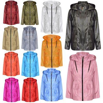 A2Z Trendz Girls Boys Raincoats Jackets Kids Light Weight Waterproof Kagool Hooded Jacket Cagoule Rain Mac Thin Coats New Age 5 6 7 8 9 10 11 12 13 Years