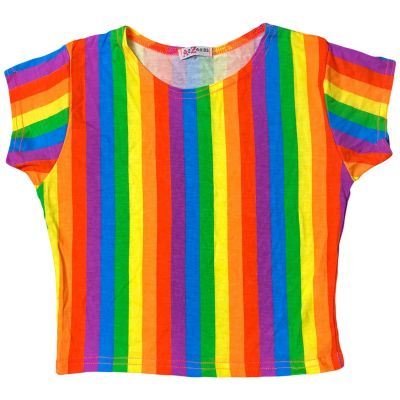 A2Z Trendz Kids Girls Crop Top Designer's Rainbow Short Sleeves Stretchy Party Fashion Summer Top Tees New Age 7 8 9 10 11 12 13 Years
