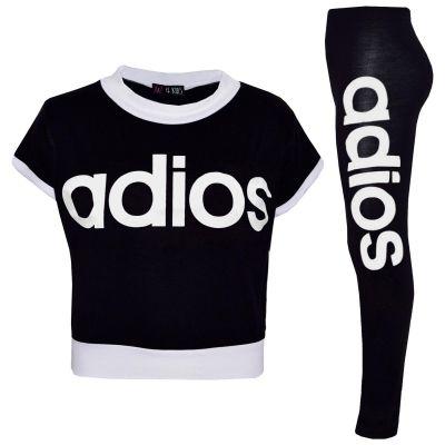 Kids Girls Adios Crop Top Legging Set Black Half Shirt Jogging Suit Tracksuits
