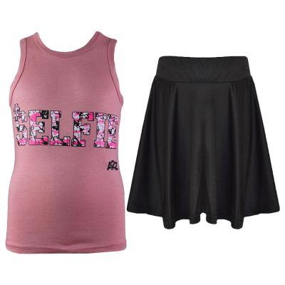 A2Z Trendz Kids Girls Vest & Skirt Sets Designer's Splash Print Baby Pink Trendy Floss Fashion Vest & Skirts Trendy T Shirt Tops Tees & Bottom Set New Age 5 6 7 8 9 10 11 12 13 Years