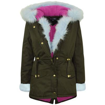 A2Z Trendz Kids Girls Jacket Designer Baby Blue Faux Fur Hooded Parka School Jackets Outwear Coats New Age 5 6 7 8 9 10 11 12 13 Years