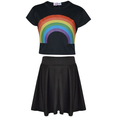A2Z Trendz Kids Girls Crop Top & Skirt Sets Designer's Rainbow Print Black Trendy Floss Fashion Belly Shirt & Skirts Trendy T Shirt Tops Tees & Bottom Set New Age 5 6 7 8 9 10 11 12 13 Years