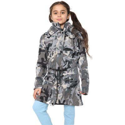 Kids Girls Hooded Jacket Faux Fur Parka School Jackets - Jacket JK27 Camo Charcoal 11-12