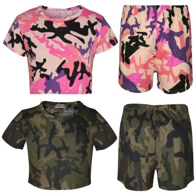A2Z Trendz Kids Girls Crop Top And Shorts Camouflage Print Trendy Fashion Summer Outfit Set New Age 5 6 7 8 9 10 11 12 13 Years