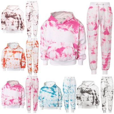 Kids Girls Tracksuit Tie Dye Print Fleece Hooded Crop Top & Bottom Jogging Suit Joggers