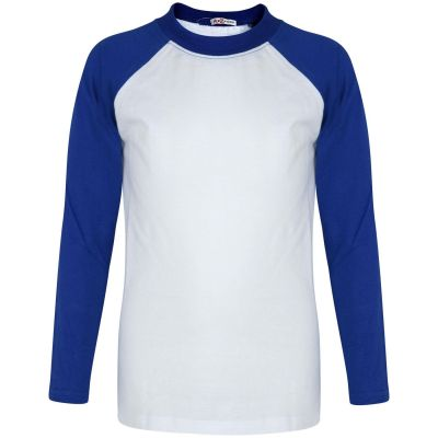 A2Z Trendz Kids Boys Girls Royal T Shirts Designer's 100% Cotton Plain Baseball Long Raglan Sleeves Team Sports Tee Soft Feel Casual T-Shirts New Age 2 3 4 5 6 7 8 9 10 11 12 13