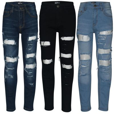 Kids Boys Stretchy Jeans Ripped Denim Skinny Bikers Pants Stylish Trousers