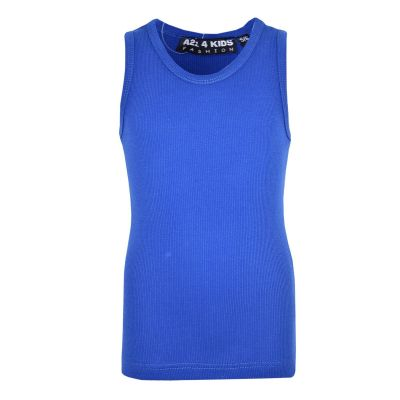 A2Z Trendz Kids Girls Ribbed Vest Top Designer's 100% Cotton Royal Blue Fashion Tank Tops T Shirts New Age 5 6 7 8 9 10 11 12 13 Years