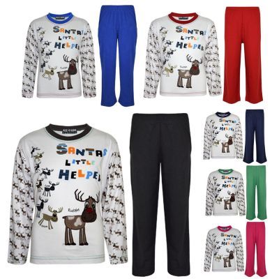 "Kids Girls Boys ""SANTAS LITTLE HELPER"" Christmas Pyjamas Reindeer Rudolph PJ's Age 1-7 Years"