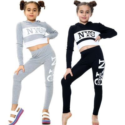 Kids Girls NYC Brooklyn Print Hooded Crop Top Legging Outfit Sets.
