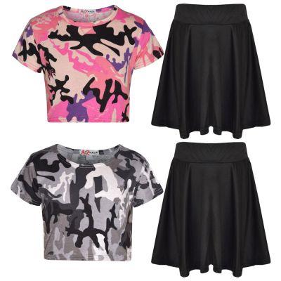 A2Z Trendz Girls Crop Tops Kids Camouflage Print Trendy T Shirt Crop Tops & Fashion Skater Skirt Set New Age 5-13 Years