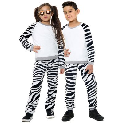 Kids Girls Boys Pyjamas Zebra Print Loungewear Flannel Fleece Nightwear PJS.