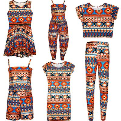Kids Girls Aztec Tribal Foil Print Skater Dress Midi Dress Crop Top Legging Jumpsuit Playsuit New Age 7-13 Years