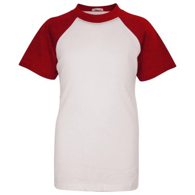 A2Z Trendz Kids Boys Girls Red T Shirts Designer's 100% Cotton Plain Baseball Short Raglan Sleeves Team Sports Tee Soft Feel Casual T-Shirts New Age 2 3 4 5 6 7 8 9 10 11 12 13