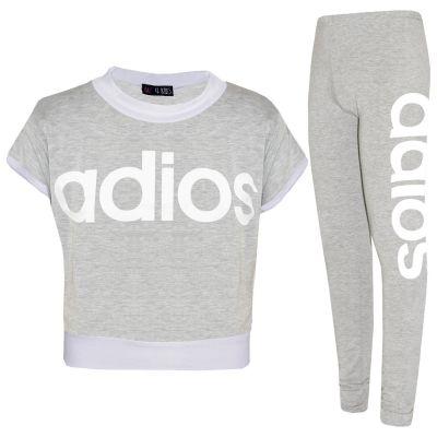 Kids Girls Adios Crop Top Legging Set Grey Belly Shirt Jogging Suit Tracksuits