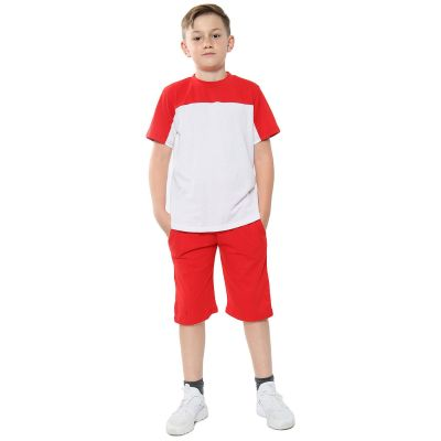 A2Z Trendz Kids Girls Boys Shorts Set 100% Cotton Red Contrast Panelled Trendy Fashion Summer T Shirt Top And Hot Short Pants Gymwear Outfit Sets New Age 5 6 7 8 9 10 11 12 13 Years