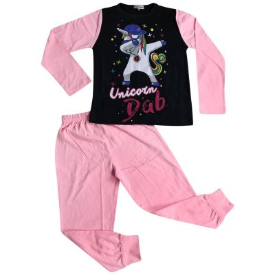 A2Z Trendz Kids Girls Pajamas Designer's Unicorn Dab Print Baby Pink Contrast Sleeves Stylish Pyjamas Loungewear Nightwear PJS Outfit Set New Age 5 6 7 8 9 10 11 12 13 Years