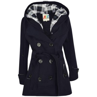 A2Z Trendz Kids Girls Parka Jacket Hooded Trench Coat Fashion Wool Blends Warm Padded Navy Jacket Oversized Lapels Belted Cuffs Long Overcoat New Age 5 6 7 8 9 10 11 12 13 Years