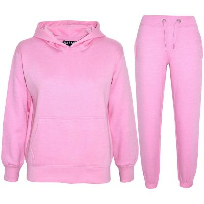 Girls Plain Baby Pink Hooded Tracksuit