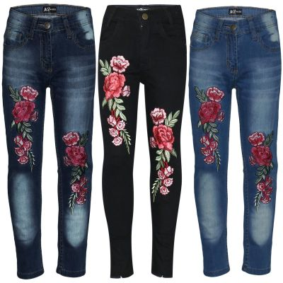 A2Z Trendz Kids Girls Stretchy Jeans Designer's Roses Embroidered Denim Pants Fashion Fit Trousers Jeggings New Age 3 4 5 6 7 8 9 10 11 12 Years