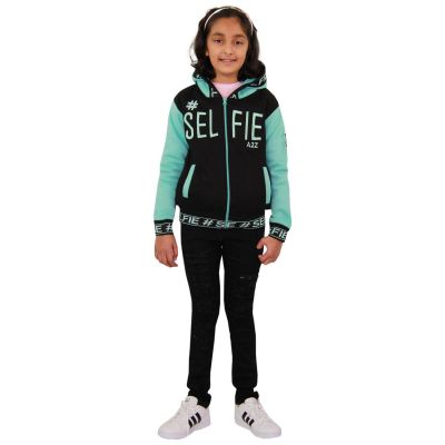 A2Z Trendz Kids Girls Boys Jackets Designer's #Selfie Embroidered Fashion Aqua Zipped Top Hooded Hoodie Stylish Coat Age 5 6 7 8 9 10 11 12 13 Years