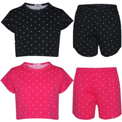 A2Z Trendz Kids Girls Crop & Shorts Polka Dot Print Trendy Fashion Summer Outfit Top & Short New Age 5 6 7 8 9 10 11 12 13 Years